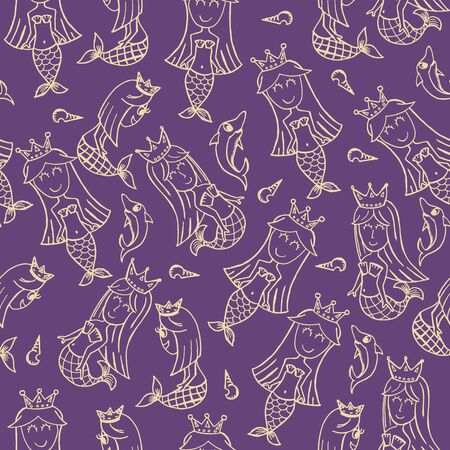 Mermaid doodle seamless pattern. Purple and white line art cartoon vector illustration.  イラスト・ベクター素材