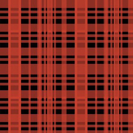 Seamless tartan scottish lumberjack pattern with red and black colors.