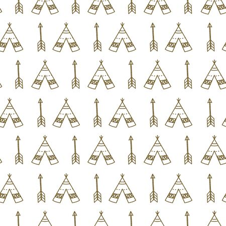 Seamless tepees and arrows line art pattern background. Illustration