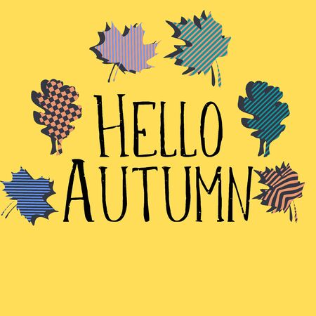 Hello autumn greeting design colorful square background. Illustration