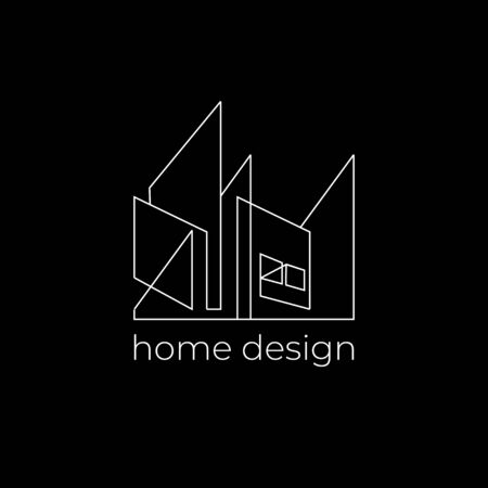 Creative home design logo with abstract line