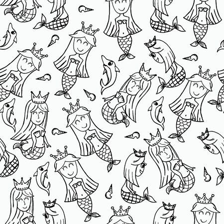 Mermaid doodle seamless pattern. Black and white line art cartoon vector illustration.