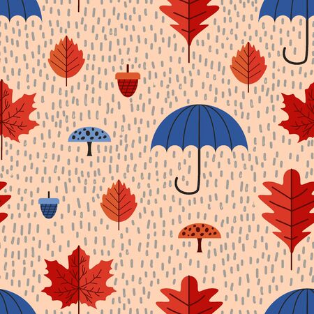 Children style pattern of cute autumn leaves drawing