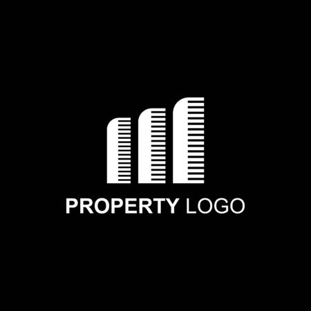 Minimalist solid shape for property logo template in black and white. Luxury style vector illustration. Stockfoto - 129511642