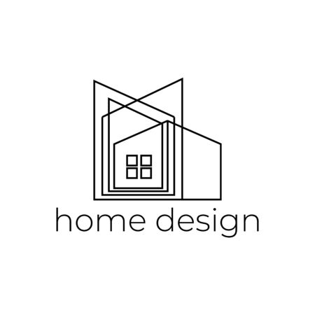 Creative home design logo with abstract line minimalist