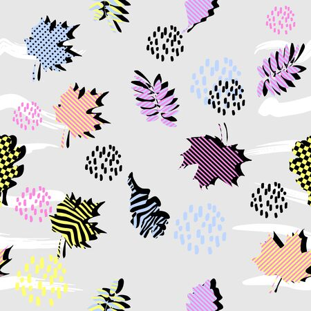 Colorful leaves seamless pattern vector illustration memphis 90s style  イラスト・ベクター素材