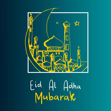 Eid al Adha Mubarak banner background with hand drawn mosque and moon on blue background with gradient.