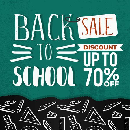 Back to school sale banner with hand drawn creative student equipments.