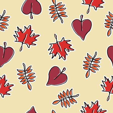 Seamless autumn trendy hand drawn style pattern with hot colors background ready for print. Banque d'images - 129468673