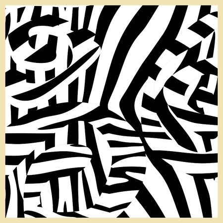 Geometric black and white unique abstract pattern square for hijab, scarf, cushion, pillow textile print Stock Illustratie