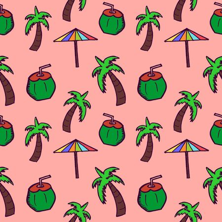 Hand drawn doodle coconut, umbrella, and tree seamless pattern. Summer background wrapping and textile print.