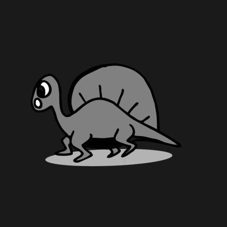 Dinosaurus cute hand drawn spinosaurus isolated on dark background.