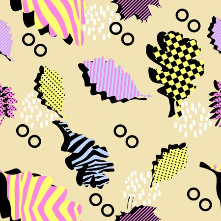 Trendy abstract colorful leaves seamless pattern