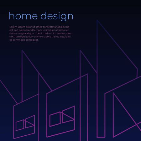 Digital background with home architect abstract and sample text poster. Vector illustration. Иллюстрация