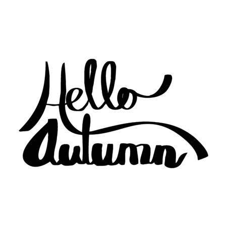 Hello autumn typography hand drawn style. Manual handwriting vector.
