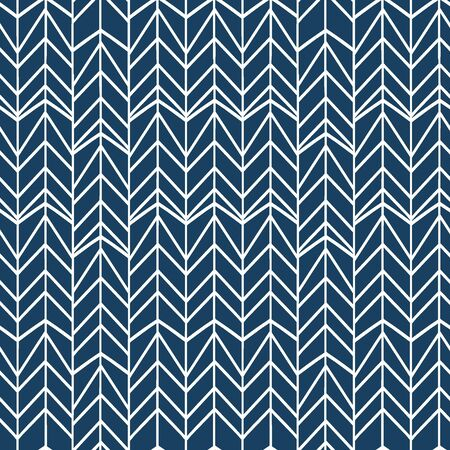 Colorful hand drawn chevron with blue background. Herringbone drawing seamless pattern.