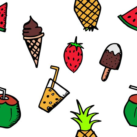 Seamless summer doodle hand drawn pattern with colorful holiday beach stuff.