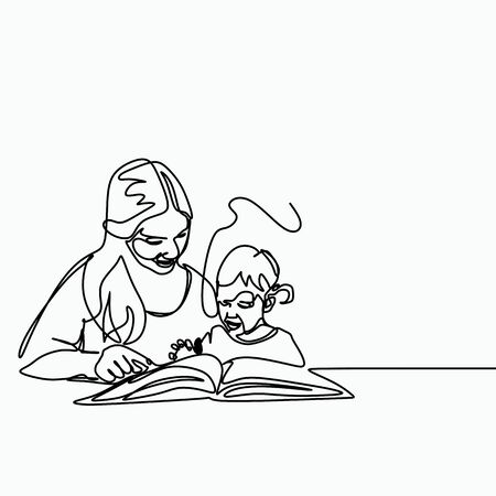 One continuous line art drawing with a mom teaching her baby kid by reading a book and telling story.  イラスト・ベクター素材