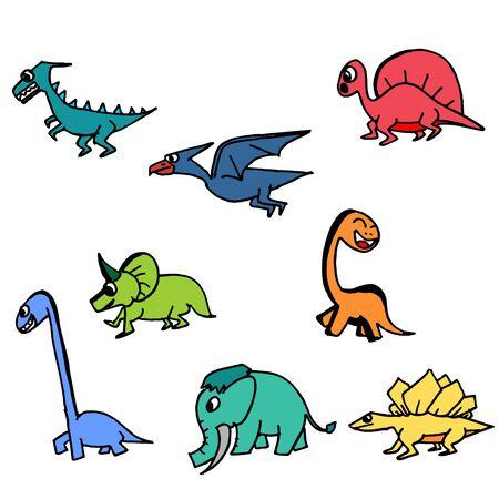 Dinosaur cute hand drawn colorful set. Collection of dinosaurus drawing.