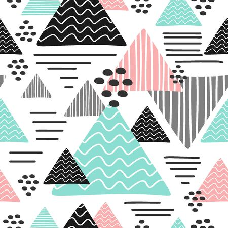 Seamless trendy triangle pattern multicolor