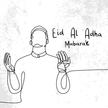 Conception de voeux Eid al Adha avec un dessin d'art en ligne continu de prière musulmane reconnaissant. Vecteurs