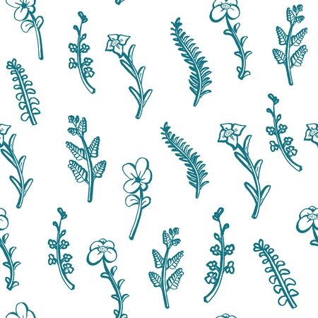 seamless floral pattern outline hand drawn background. Wild cute plant vector illustration.