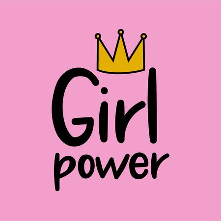 Girl Power cute hand drawn lettering on pink background 写真素材 - 129511107