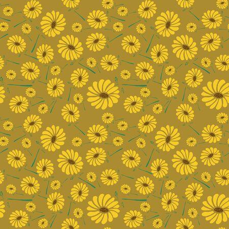 seamless pattern sun flowers background. Фото со стока - 129511108