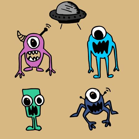 Monster alien cute drawing with ufo set collection