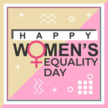 Happy womens equality day banner design with memphis decorative punchy pastel colors Иллюстрация