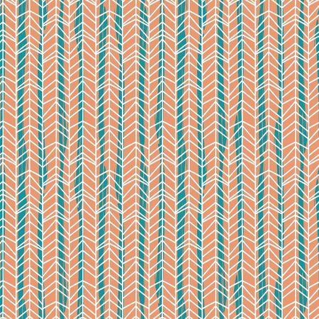 Colorful orange and blue chevron herringbone hand drawn pattern seamless background for fashion print. Illustration
