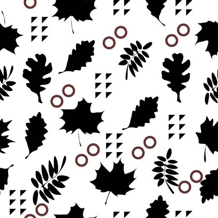 Trendy abstract black and white leaves seamless pattern