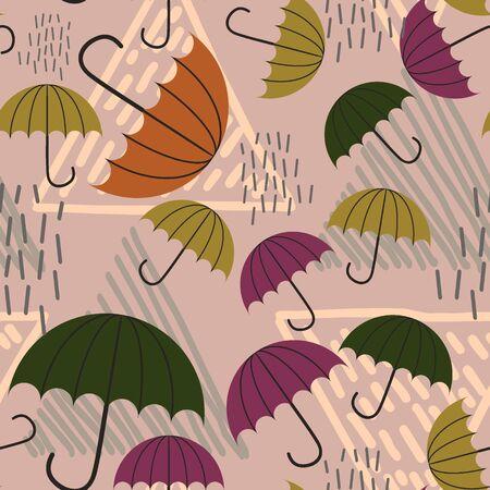 Hand drawn umbrella and rain with childish drawing pattern