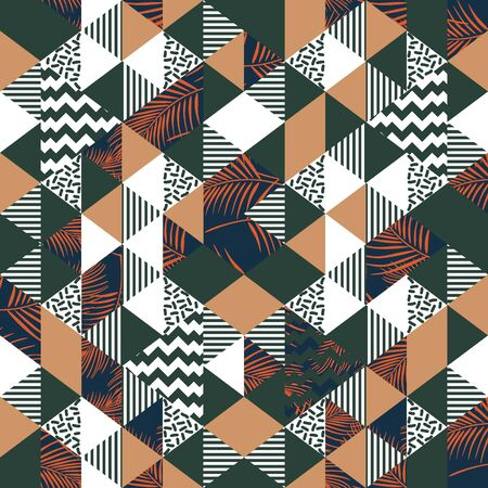 Seamless geometric trendy pattern with palm leaves abstract