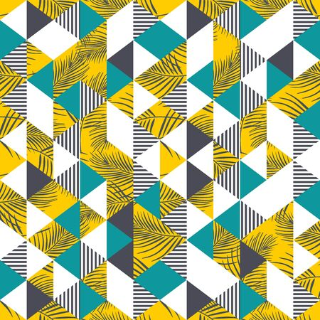 Hipster colorful triangle seamless pattern with palm leaves