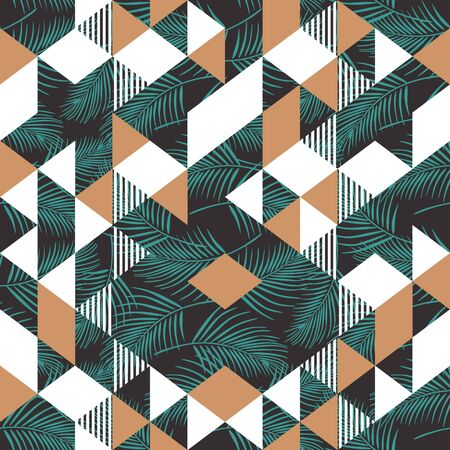 Triangle geometric seamless pattern with coconut leaves