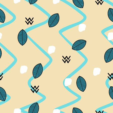 Leaves shading on the light blue and brown choppy background seamless pattern