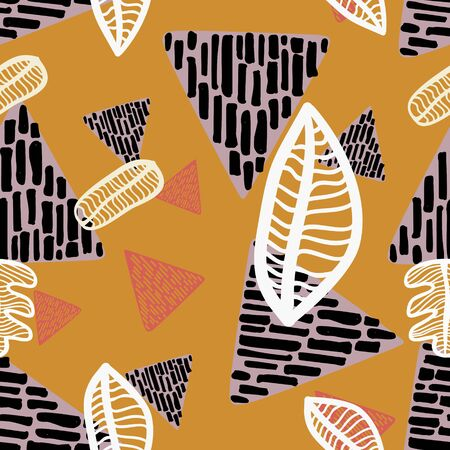 seamless autumnal pattern with triangle geometric drawing