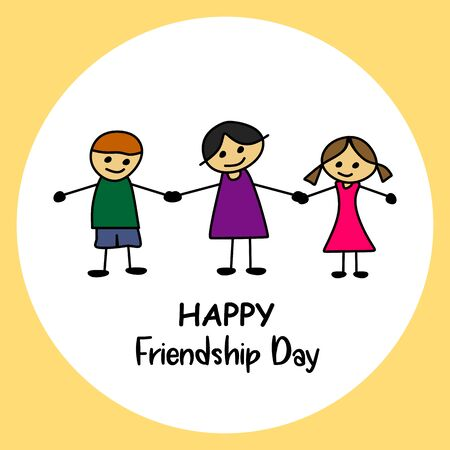 Happy friendship day card design with three cute young children