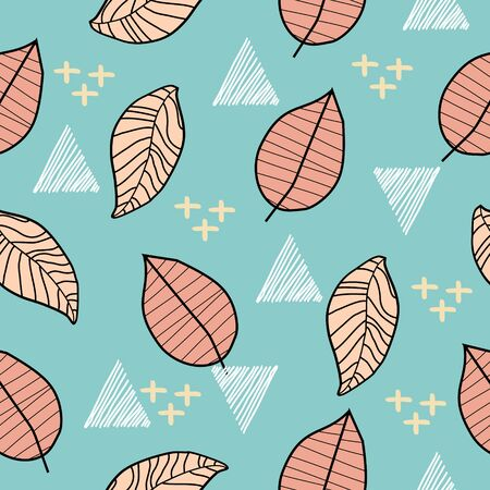 Childish autumn floral drawing style pattern background