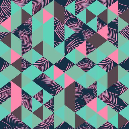 Hipster trendy seamless pattern with triangle and leaves