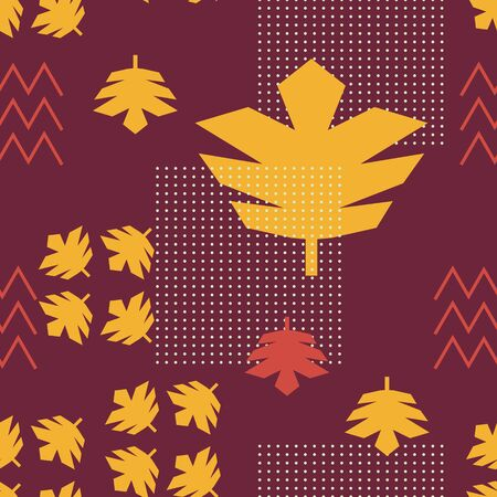 Autumn trendy memphis pattern with colorful leaf