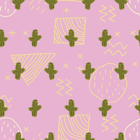 Cactus seamless hand drawn pastel color pattern. Punchy pastel colorful vector illustration.