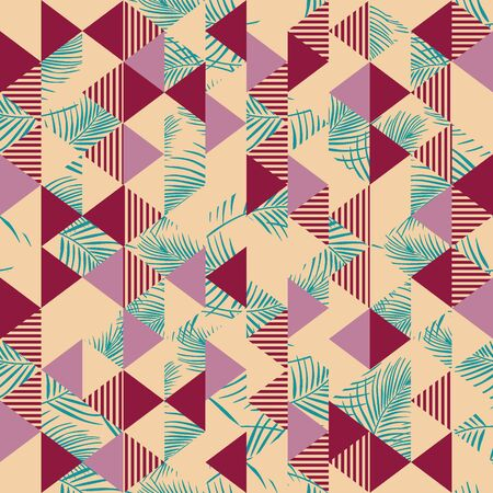 Vintage triangle pattern with seamless palm leaves Illustration