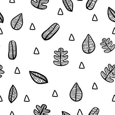 autumn leaf doddle hand draw black and white 일러스트