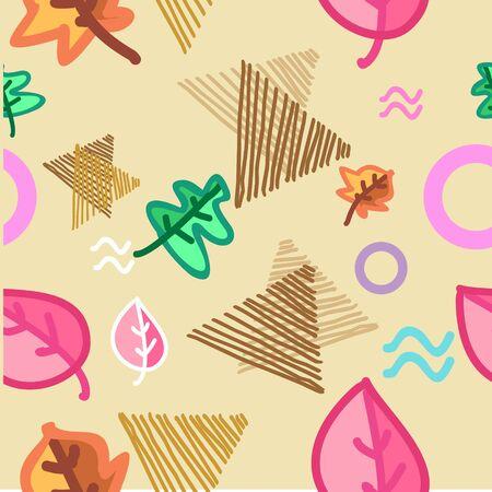 Autumn creative pattern with geometric abstract background Ilustração