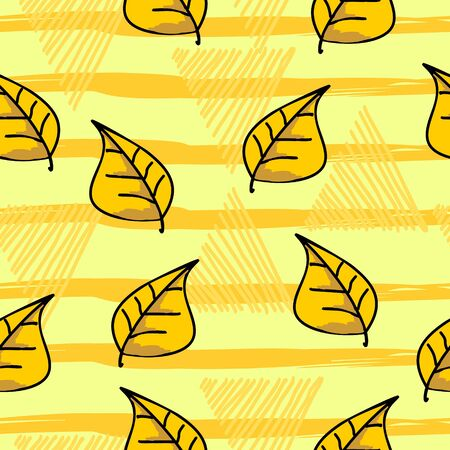 Hand drawn autumnal leaf seamless pattern with yellow color
