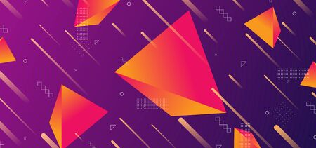 Triangular background. Abstract composition of 3d triangles. 3D vector illustration . Futuristic geometric background. Orange violet three-dimensional triangle in space. Illustration