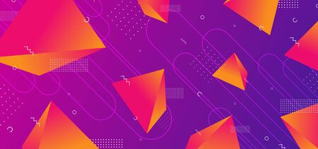 Triangle gradient futuristic background with orange colors on purple. 3d rendering effect wallpaper vector illustration.