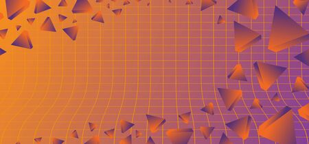 Triangular background. Abstract composition of 3d triangles. 3D vector illustration . 80s neo memphis neon colors. Иллюстрация